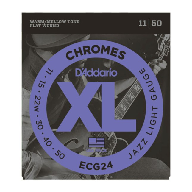 D'Addario ECG 24 Chromes Flat Wound, Jazz Light