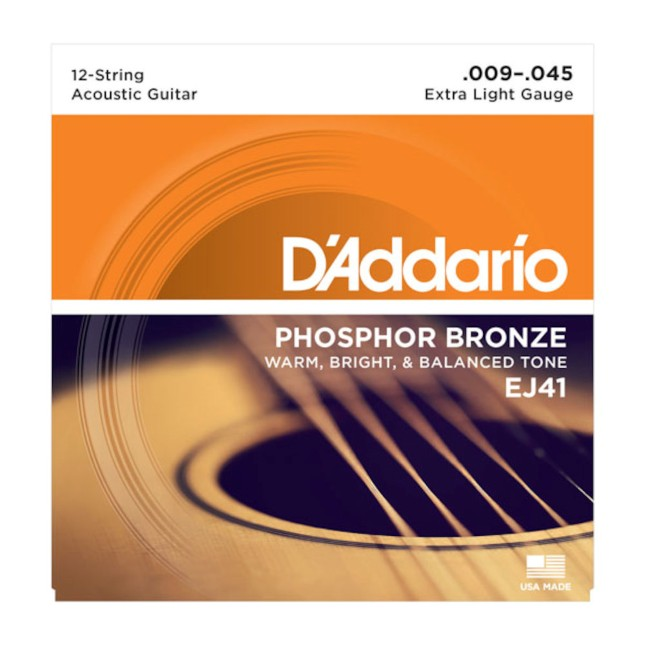 D'Addario EJ 41 Phosphor Bronze 12-String Phosphor Bronze, Extra Light