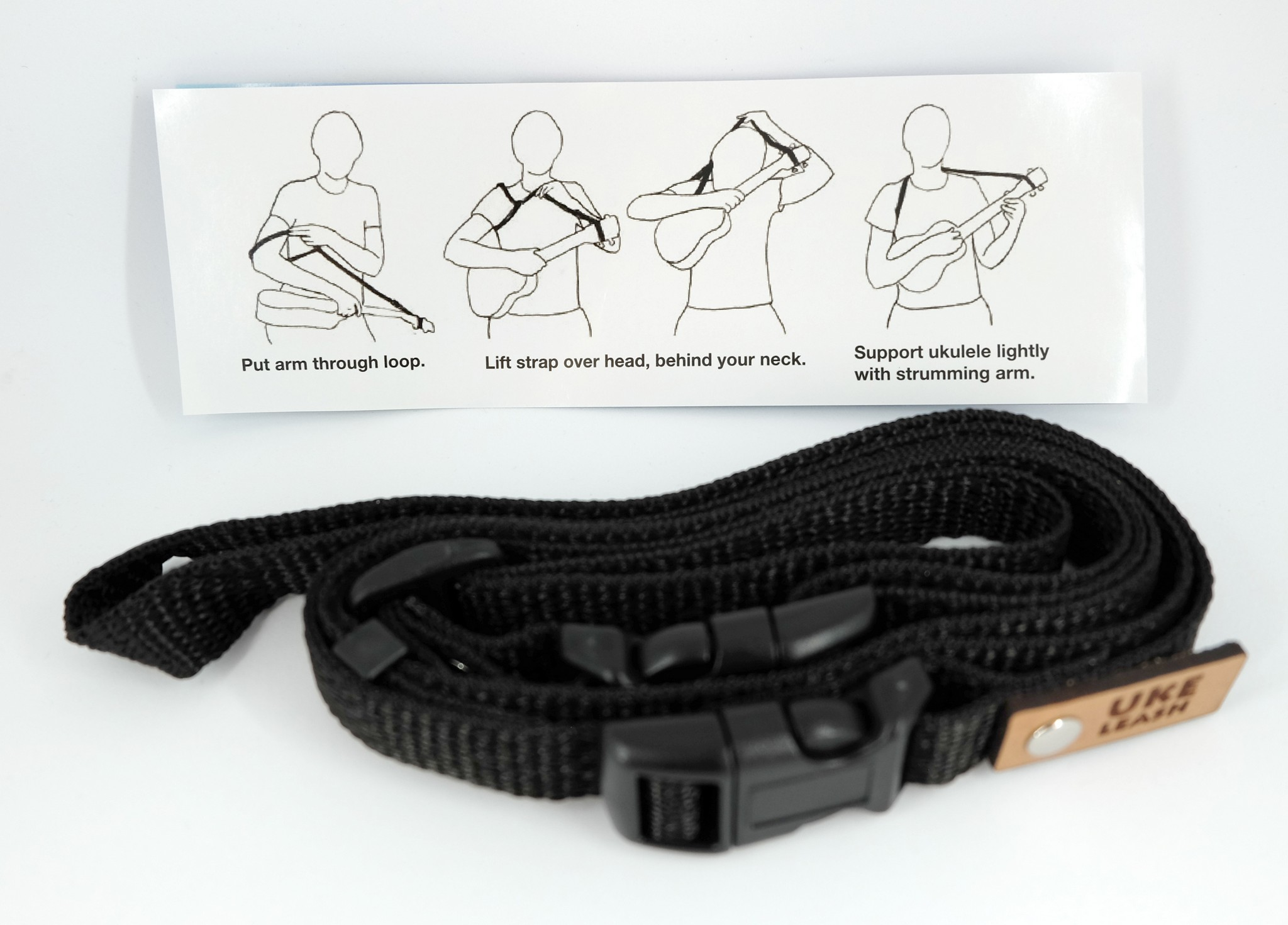 Uke Leash Ukulelengurt Medium Black