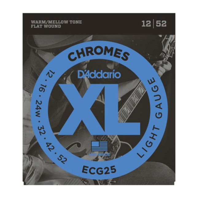 D'Addario ECG 25 Chromes Flat Wound, Light
